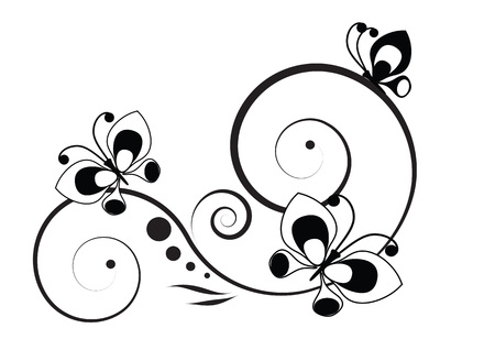 pinstripes: Black and white vignette in a graphic style with butterflies and pinstripes Illustration