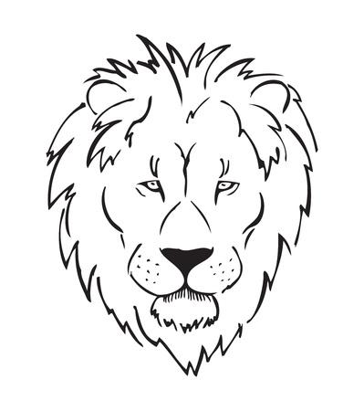 full-face lion head, african lion, sketch, black and white vector illustration Vektorové ilustrace