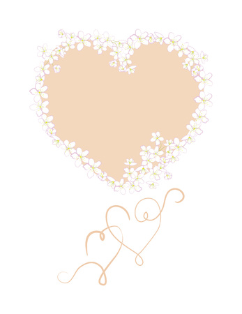 wed beauty: template for greetings, invitations, greeting cards with hearts and flowers