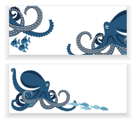 octopus and fish, two banners, underwater inhabitants, template illustration Illustration