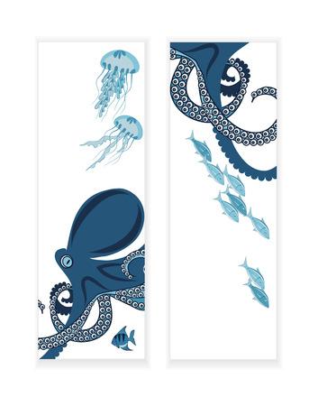 invertebrate: octopus and fish, two banners, underwater inhabitants, template illustration Illustration