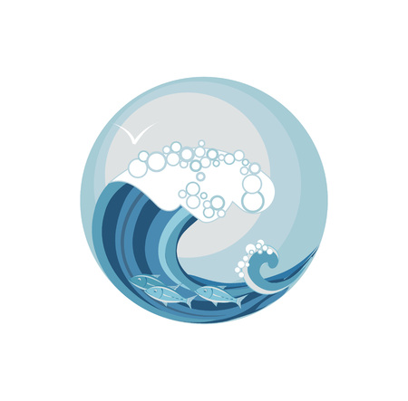 water animal bird card  poster: seascape, waves of the sea and the sky illustration in the circle