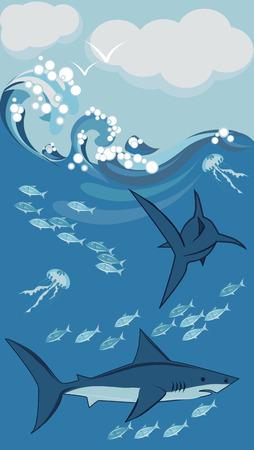 shark, underwater illustration