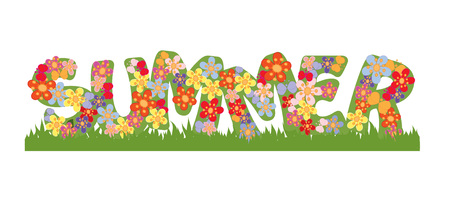 grass isolated: summer, text, flowers and butterflies, illustration