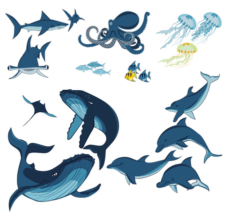 marine animals: marine animals and fish, whales, dolphins, sharks, octopus, jellyfish and fish isolated on white background, illustration