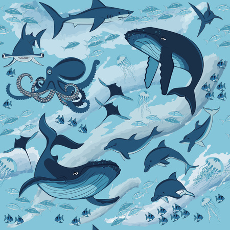 the inhabitants of the underwater world, fish and marine animals, whales, dolphins, sharks, octopus, fish and jellyfish, seamless pattern, illustration Illustration