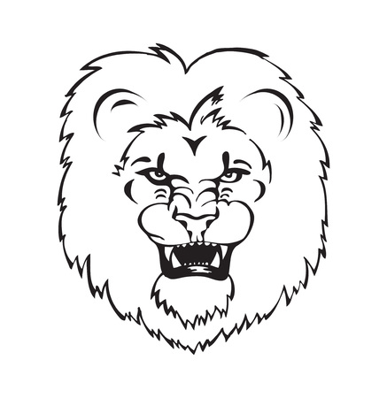 zodiac anger: Lion, roaring lion head, tattoo, black and white illustration