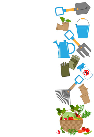 crop sprayer: tools for working in the garden and a basket of fresh vegetables, vector illustration