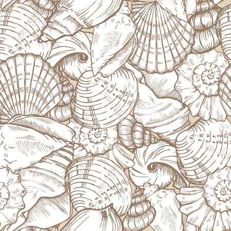 sea shells beige seamless background