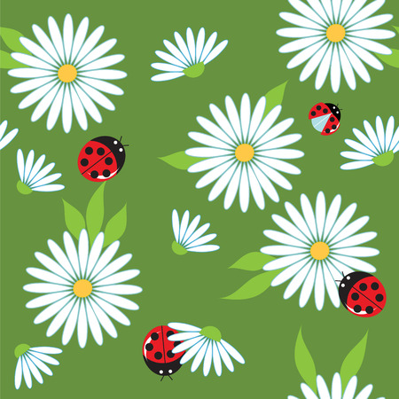 chamomile and ladybugs on a green meadow, seamless vector background Illustration
