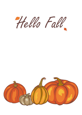 Lovely Hello Fall, Autumn Pumpkin Harvest, Template For Advertising, Greeting Cards,  Invitations,