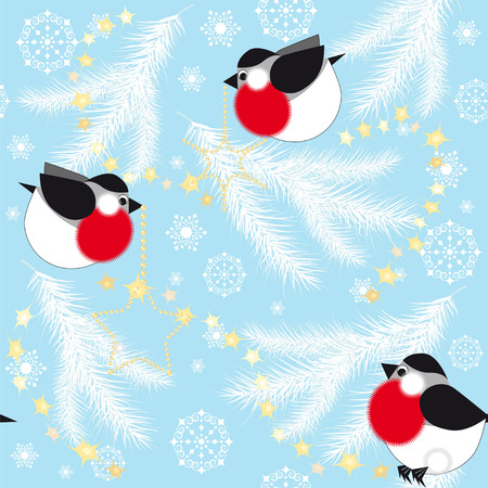 Blue christmas background with bullfinches and spruce branches, seamless vector pattern Illustration