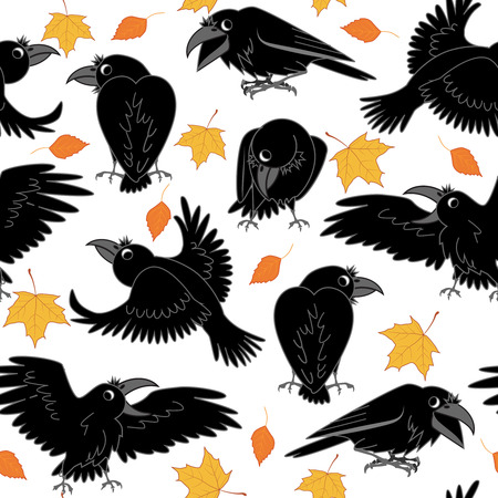 Ravens and autumn leaves on a white background. seamless vector illustration Illustration