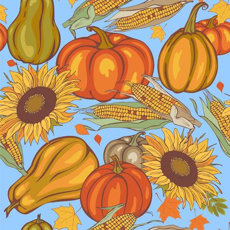 autumn harvest, seamless vector pattern Illustration