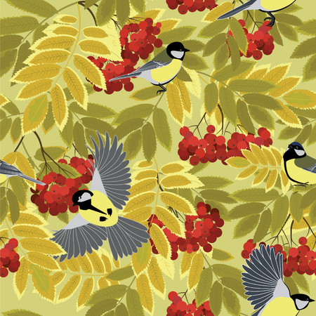 chickadee: tit among autumn rowan branches seamless vector pattern Illustration