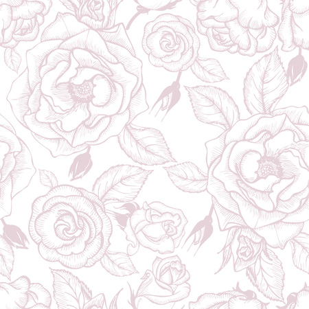 pastel shades: flowers and buds of roses, pastel shades, seamless vector illustration Illustration