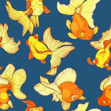 underwater life, goldfish, seamless pattern, vector illustration Illustration
