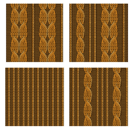 stockinet: Seamless knitted patterns set, vector illustration