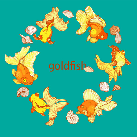 frame with fish and shells on the blue background, vector illustration