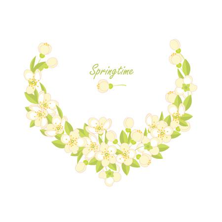 Spring vector background. Spring flowering branches Illustration