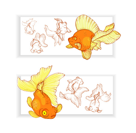 Two horizontal banners with goldfishes, vector illustration.