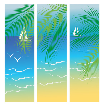 Banners with sea and palm trees, summer vacation, vector illustration.