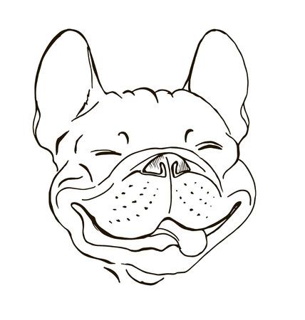 프랑스 불독, 초상화, 행복한 강아지 얼굴, 스케치, 흑백 그래픽 벡터 일러스트 레이션