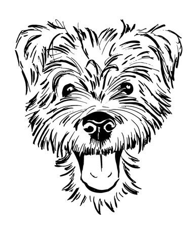 dog breed terrier, smiling dog face, portrait, sketch, black and white vector illustration