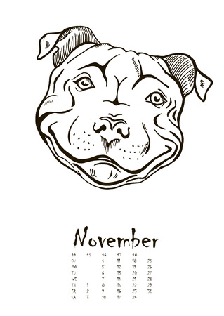calendar design: calendar for 2018 with portraits of dogs of different breeds, black and white graphic vector illustration