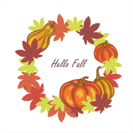 autumn leaves and pumpkins, template for postcard, advertisement, invitation, vector illustration