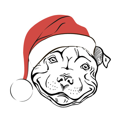 christmas card with a cute cartoon dog in a red santa hat and rh 123rf com English Bulldog Christmas Cute Christmas Bulldogs
