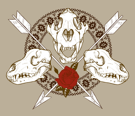 Composition of animal skulls, arrows and Indian geometric ornament, vector illustration