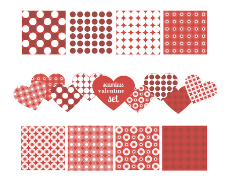 set of seamless patterns for valentines day, circles on a red and white background, vector illustration