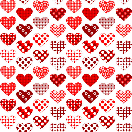 Textile hearts with polka dots seamless vector art illustration for valentine's day.