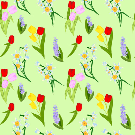 seamless pattern with spring flowers, bright blooming tulips, daffodils and hyacinths, vector illustration