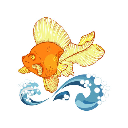 goldfish and wave, design element with fish on white background, vector illustration
