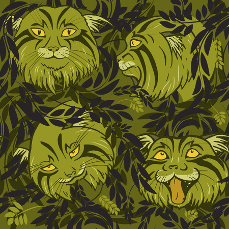 Wild forest cats among foliage and branches, seamless vector illustration