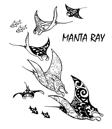 Manta ray and fish in the sea , vector illustration