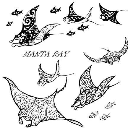 Manta ray and fish in the sea , vector illustration