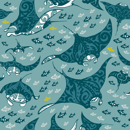 Manta ray and fish in the sea depth, seamless vector pattern