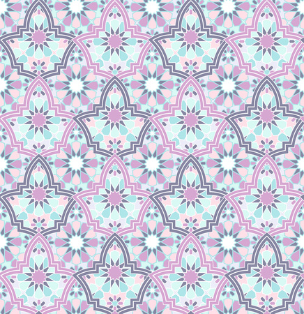 seamless bright multi-colored geometric pattern based on Moroccan patterns, vector illustration