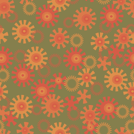 abstract background with circles and suns on green, seamless vector pattern