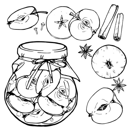 Apple jam in a jar and apples, home harvesting of apples, black and white vector illustration, painting