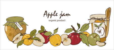 Apple jam in a jar and apples, home harvesting of apples, vector illustration