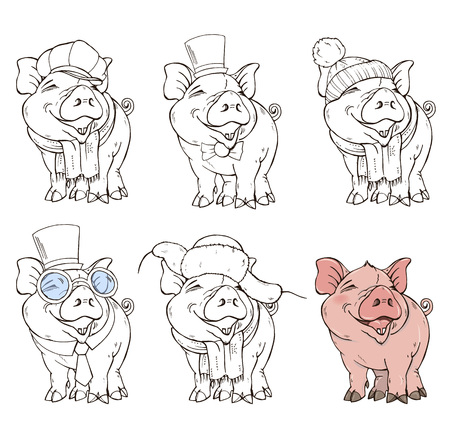 Cute pig in different clothing options, color and black and white image, coloring page, vector illustration.