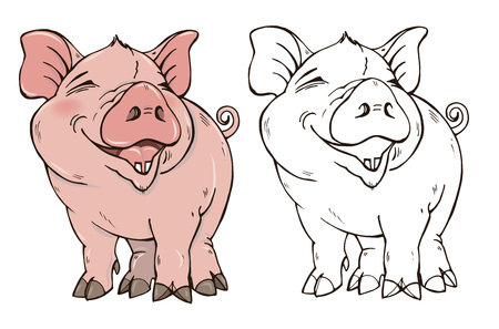 Cute pig in color and black and white, the symbol of 2019, coloring page, vector illustration.
