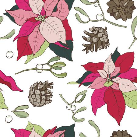 Christmas plants, poinsettia and mistletoe, seamless vector illustration Ilustração