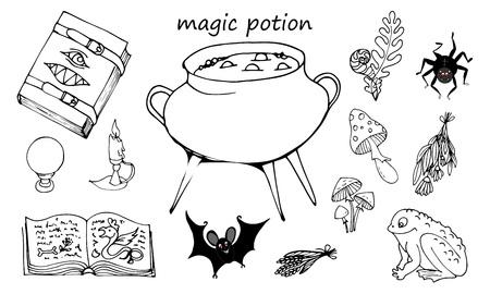 Zaubertrank, Satz von Elementen auf weißem Hintergrund, Grimoire, Topf mit Trank und Zutaten, Vektorillustration