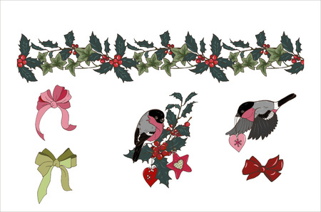 seamless Holly and ivy brush, composition of Christmas plants and Christmas tree toys, bullfinches, bows, isolated on white background, vector illustration Ilustracja