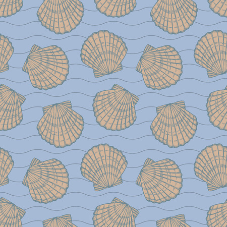 seashells and stripes on blue background, monochrome seamless vector pattern